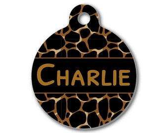 Personalized Round Pet ID Tag-Animal Print Pattern | Custom Pet ID Tag | Dog Collar Name Tag | Double Sided