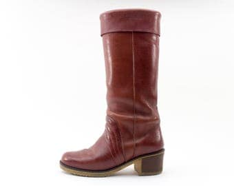 70s Vintage Boots   Red Riding Boots   Blondo Fleece Lined Boots   US Women's Size 7  EU 38  UK 5