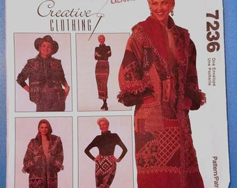 McCall's 7236 - Misses' Afghan Coat, Jacket, Lined Vest and Wrap Skirt Pattern - Ladies and Women's Creative clothing Pattern