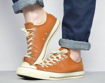 converse vintage shoes. vintage 90s converse brown leather ox shoes trainers sneakers grunge retro label size uk 10