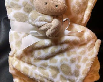 Personalized embroidered stuffed plush giraffe animal lovey security blanket and regular fleece blanket 2-piece set