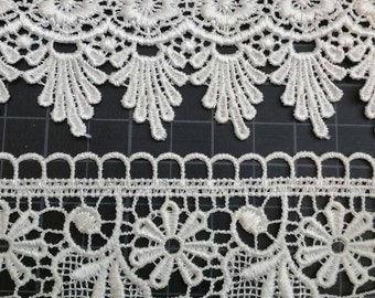1 yard (9mm white lace trim. double flowers). Or *8mm wide scallop lace) venice lace trim white