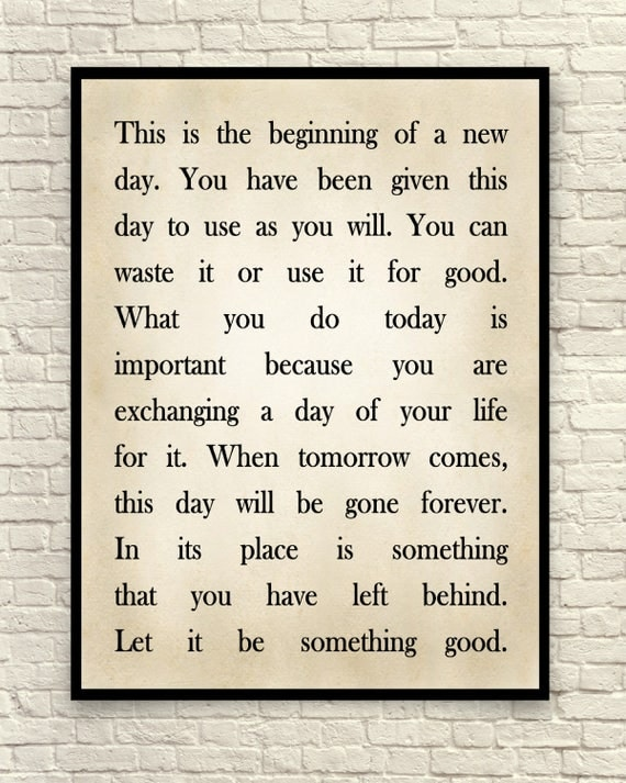 this is the beginning of a new day printable