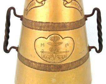 Stunning Vintage Large Two Handled Tankard, Loving Cup, Hand Crafted Brass, Henry IV, Urbis Palladium Gentis, Pau France, 1930's Art Deco