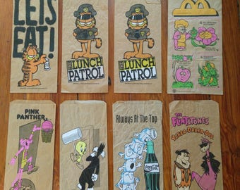 Lot of 8 vintage lunch bags
