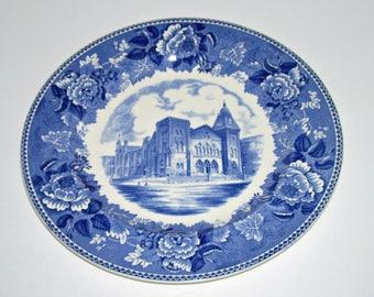 Vintage Wedgwood First Congregational Church Washington DC Blue White Plate