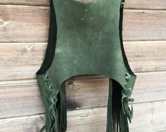 green leather vest