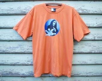 Vintage 90s Weird Al Jankovic Tshirt Orange Tee Loud Top Comedian Tour Grunge Vtg 1990s Size M-L