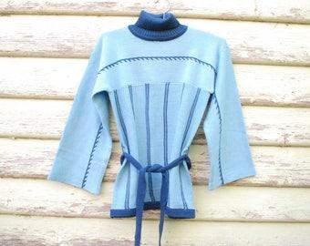 Vintage 70s Blue Sweater Turtleneck Jumper Retro 1980s Hippie Knitted Vtg Skivvy Size XS-S