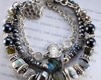 bracelet, labradorite bracelet, grey bracelet, silver bracelet, boho chic bracelet,bohemian bracelet, gifts for her, Christmas for her