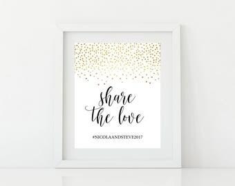 Printable Social media Wedding Sign - Digital PDF file - Wedding Hashtag Sign Printable - Hashtag Wedding Sign - Gold confetti wedding sign