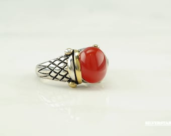 Vintage Red Carnelian Sterling Silver Ring Size 7 Gold accent