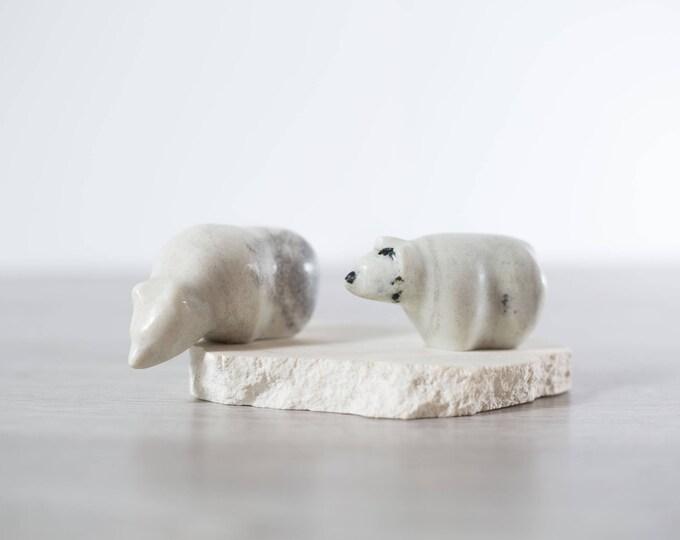 Stone Inuit Art / Arctic Polar Bears Soapstone Carving Northwest Territories Indigenous Fine Art