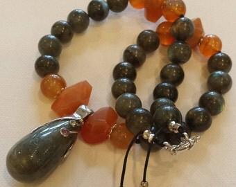 Labradorite and cornelian necklace
