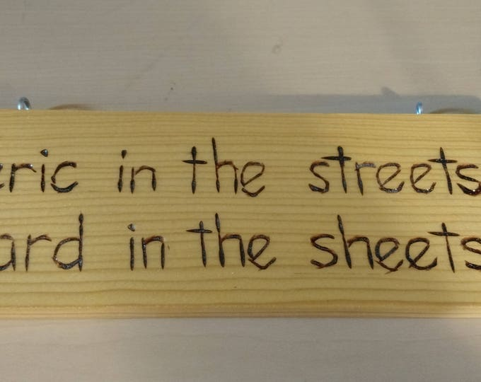 Hand-Burned Wooden Sign - Cleric in the Streets