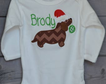 Christmas Dog with Santa Hat Applique Shirt or Onesie Boy or Girl