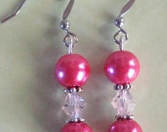 Hot pink earrings, pink earrings, hypo allergenic ear wires, pink dangles