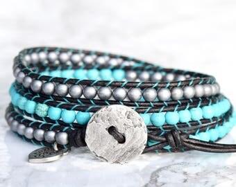 Turquoise and Silver Wrap Bracelet, Boho Wrap Bracelet, Wrap Bracelet Turquoise,  Wrap Bracelets, Boho Wrap, Silver Greek Cast Button