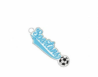 Spartans Soccer - Team - Eyelet - In The Hoop - Snap/Rivet Key Fob - DIGITAL EMBROIDERY DESIGN