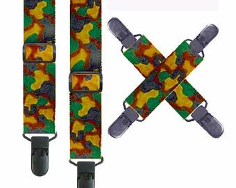 Kids CAMO Snow Pant SUSPENDERS with MITTEN Clips - Non-Metal Clips - 3 Sizes for Better Fit