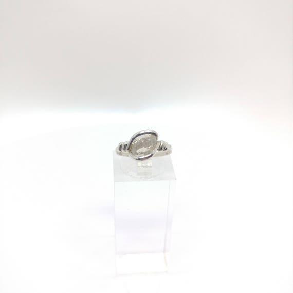 "Raw Topaz Ring   Raw Crystal Ring   Sterling Silver Ring Sz. 6   Raw ""Diamond"" Ring   Raw Stone Engagement Ring   White Topaz Ring"