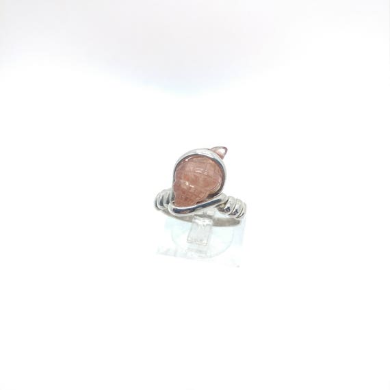 Oregon Sunstone Ring | Nature Inspired Ring | Seashell Ring | Sterling Silver Ring Sz 7 | Carved Oregon Sunstone Ring | Carved Gemstone Ring