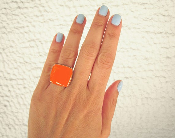 Tangerine orange ring, silver tone orange resin ring, sanguine orange statement ring, modern minimalist jewelry, color block summer jewelry