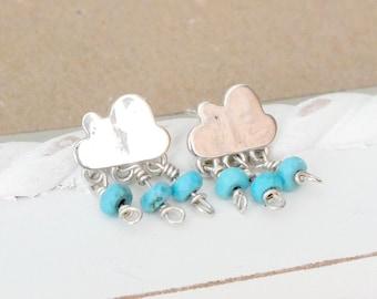 Sterling Silver Cloud Stud Earrings, Hand Cut Silver Cloud Studs, Whimsical Studs, Weather Jewellery, Cloud Dangle Studs, Turquoise Earrings