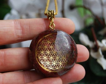Personalized Orgonite® pendant Flower of Life Custom Made FOL - Choose your OWN main Gemstone and Color Customized  Unique Unisex