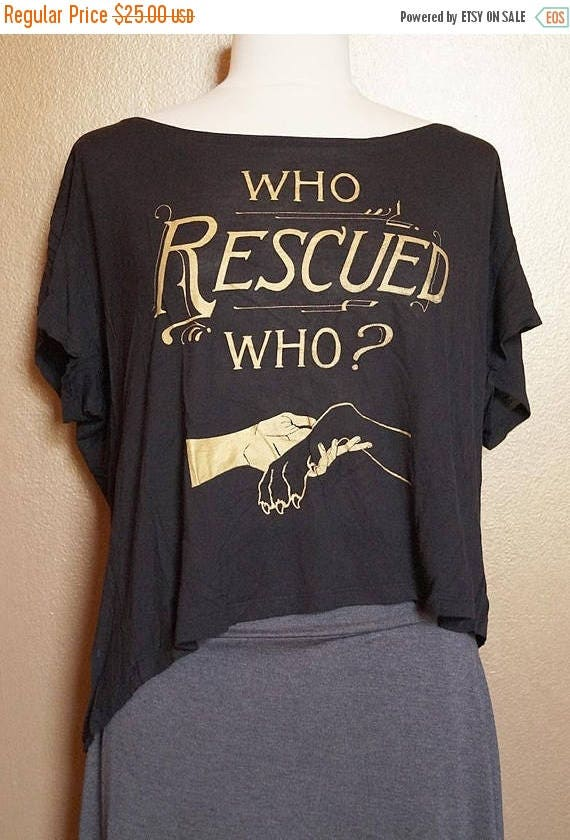 "ON SALE Med ""Who Rescued Who"" Tee, Gold Ink on Black"