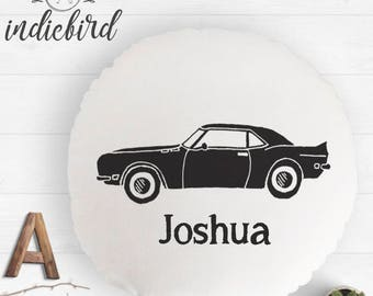 Personalised Car cushion, kids round cushion, nursery cushion, room decor, boy gift, car print .