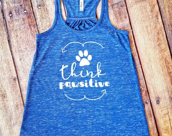 Think Pawsitive Tank Top - Dog Lover - Cat Lover - Royal Blue Marble