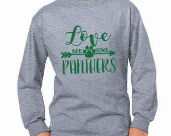 Youth Love Me Some Panthers Long-Sleeve Shirt - School Spirit - Panthers - Unisex Long Sleeve Gray Tee