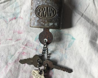 Vintage Brass FRAIM Padlock with Key #453 w/ 3 various keys