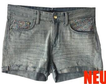 Coole Jeans-Shorts X1 - pimped by Angela - Unikat, one of a kind, shorts, Hose, Damen, woman, hot-fix stones, hot-fix Steine