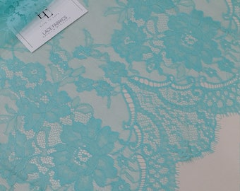 Mint green lace fabric, French lace, Chantilly lace Bridal lace Wedding lace green lace Veil lace Scalloped Floral lace Lingerie L77434