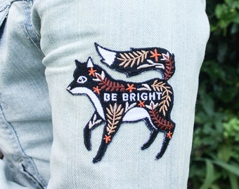 Embroidered Patch, Fox Iron On / Sew On Patch, Be Bright Fox Patches