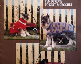 Dog Sweaters Ten Designs To Knit & Crochet By Carol Carvalho Vintage Knitting And Crochet Booklet 1990