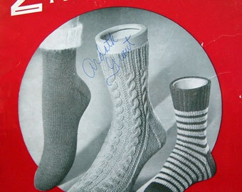 2 Needle Socks By Nell Armstrong And Doreen Vintage Knitting Pattern Booklet 1954