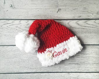 Baby Santa Hat - Personalized Santa Hat - Baby Christmas Hat - Personalized Baby Hat - Santa Hat - Newborn Santa Outfit - Newborn Santa Hat