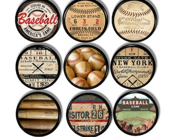 Vintage Baseball Cabinet Knob - Mancave  Drawer Pull, New York, Brooklyn Dodgers, Ebbets Field, 1958 World Championship Ticket Stub - 417A13