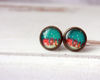 Studs, 12 mm, bronze, boho, winter, snow earrings, snow earring