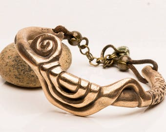 Bronze Cuff Bracelet with Flowing Lines