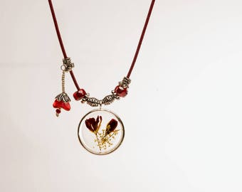 Floating Flowers Necklace in Red and Silver