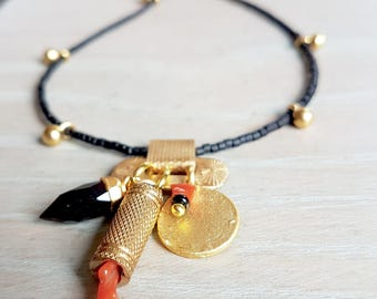 Gold,Black And Coral Charm Boho Necklace