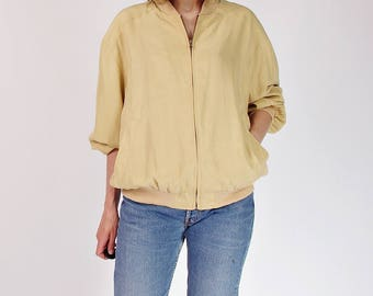 90s Grenoble silk bomber jacket / size M-XL
