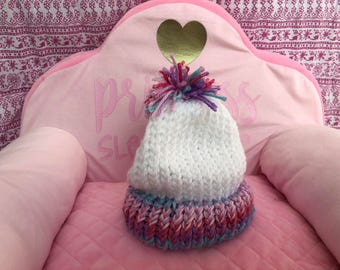 """Soft Hand Knitted Infant Hat/Beanie with Pom Pom (baby to 1 year, 15"""" circumference) - white, pink, purple, blue, multicolor"""