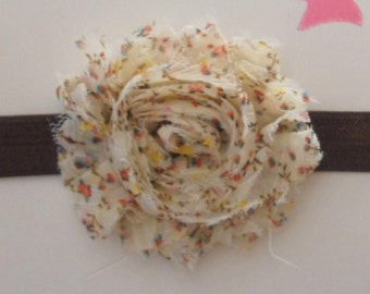 Brown and Floral Shabby Flower Headband