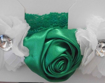 White and Green Rosette Headband