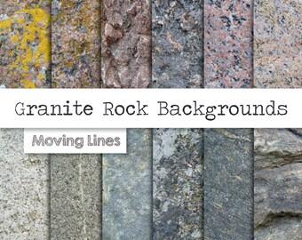 Granite Digital Paper Pack, Rock Wallpaper, Stone Background, Grunge Weathered Texture, 12 Back Drops